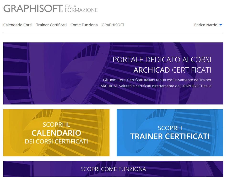 La home page del sito di GRAPHISOFT Italia Formazione.