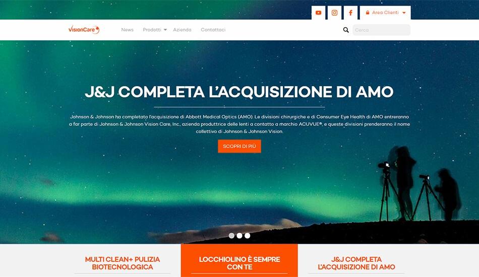 L'home page di Vision Care Italia è caratterizzata da un grande slideshow.